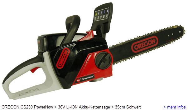 OREGON CS250 PowerNow 36V Li-ION Akku-Kettensäge 35cm Schwert