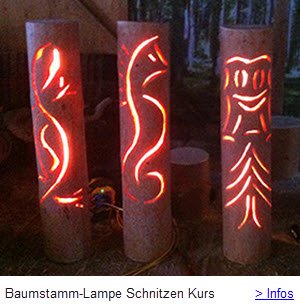 Baumstamm Lampe Schnitzen mit Carving Kettensäge